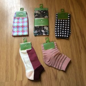 Kate Spade socks set of 5 pairs crew and ankle